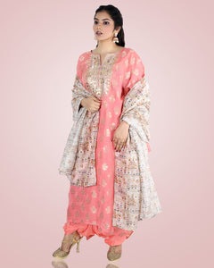 Pink Chanderi Suit Set With Printed Raw Silk Dupatta