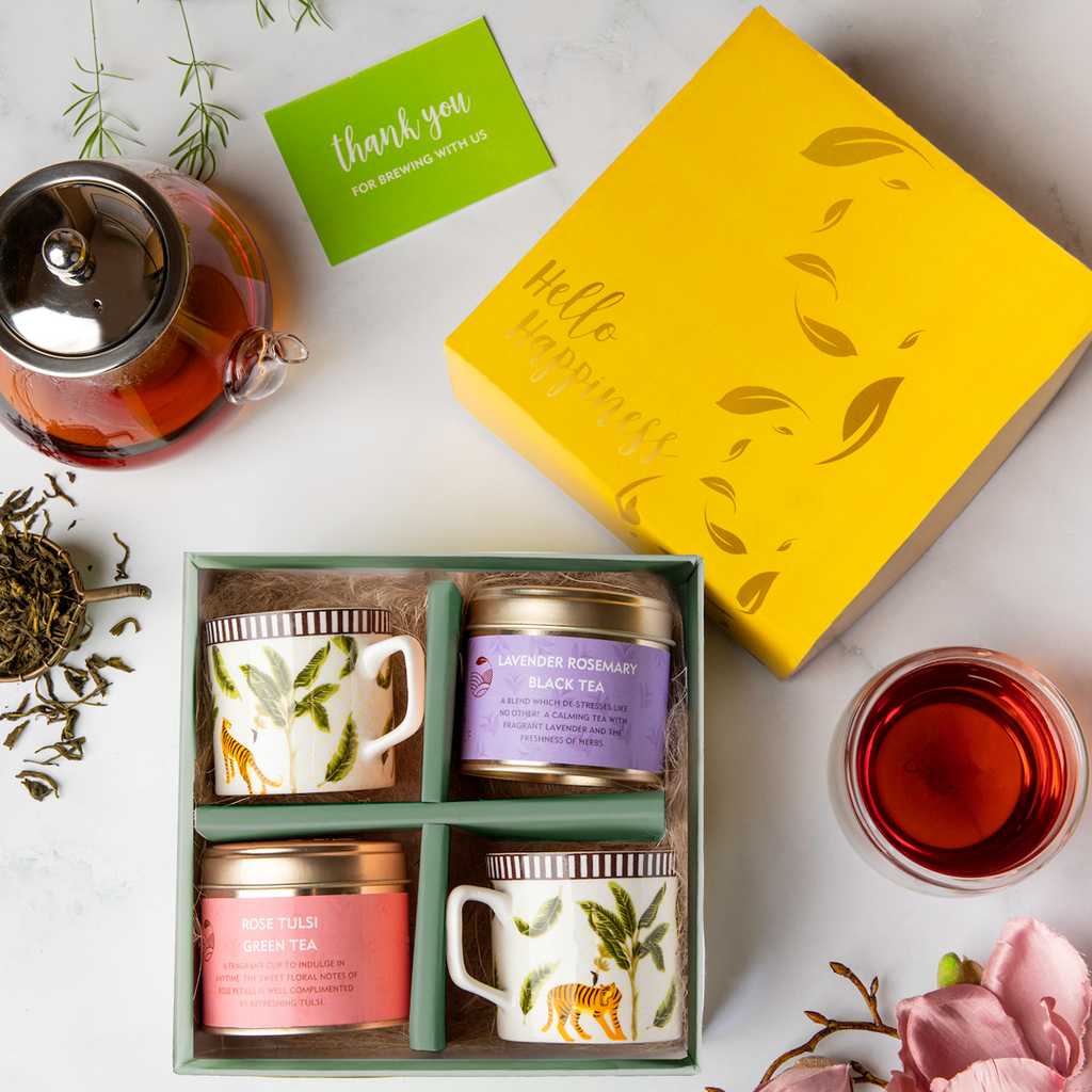 Hello Happiness with Cups - Tea Gift Box - The Tea Shelf