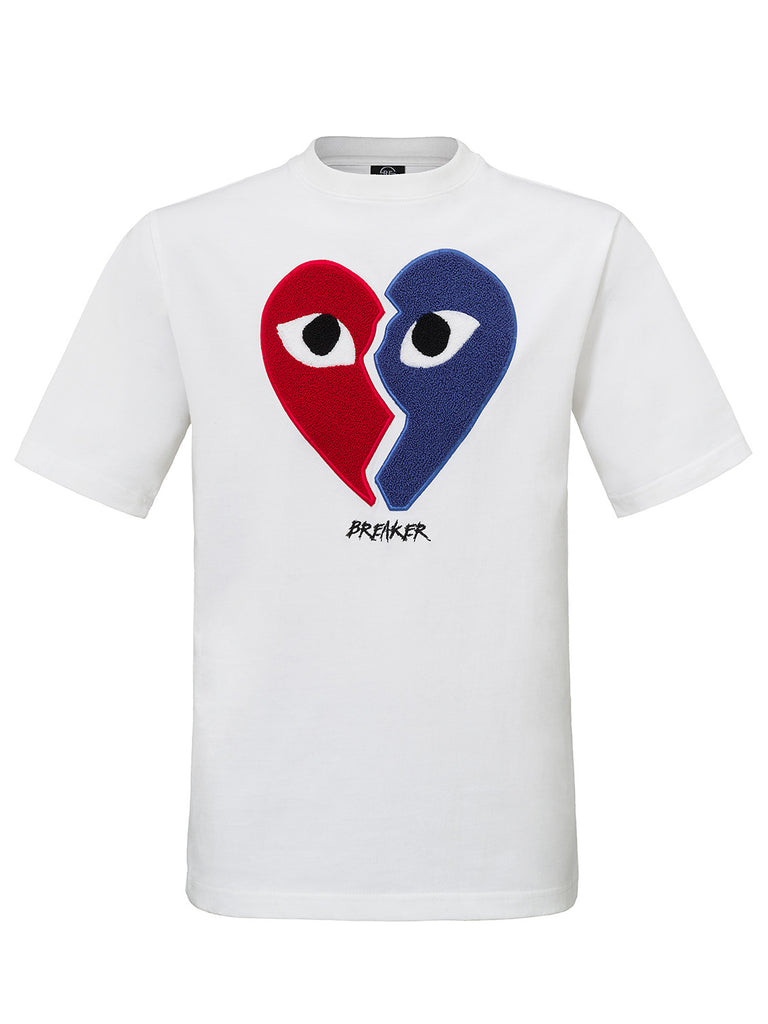 HEARTBREAKER T-SHIRT COLORBLOCK WHITE TERRY EMBROIDERY