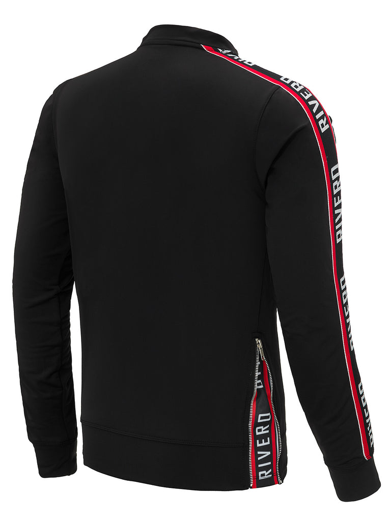 RIVERO TRACKTOP BLACK/RED WITH ZIP DETAIL