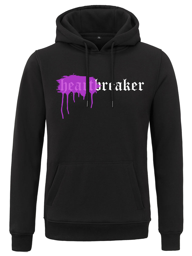 HEARTBREAKER HOODIE BLACK SPRAYED PURPLE
