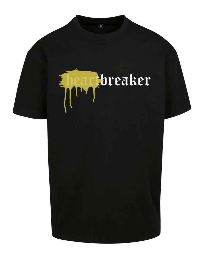 HEARTBREAKER OVERSIZED T-SHIRT BLACK SPRAYED YELLOW