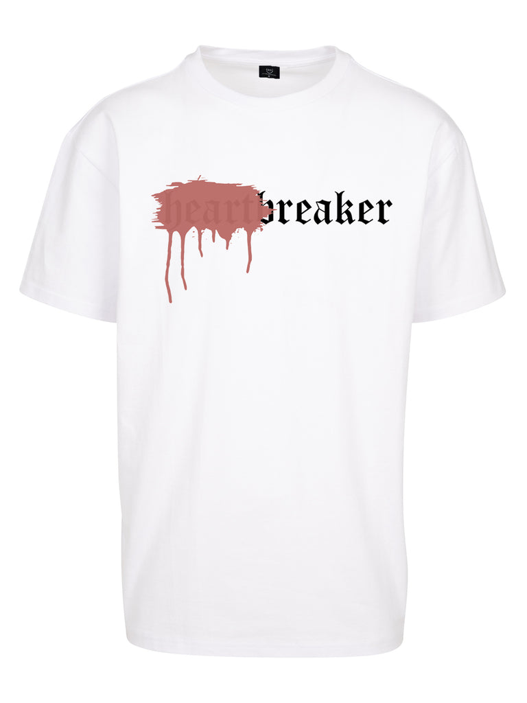 HEARTBREAKER OVERSIZED T-SHIRT WHITE SPRAYED RED