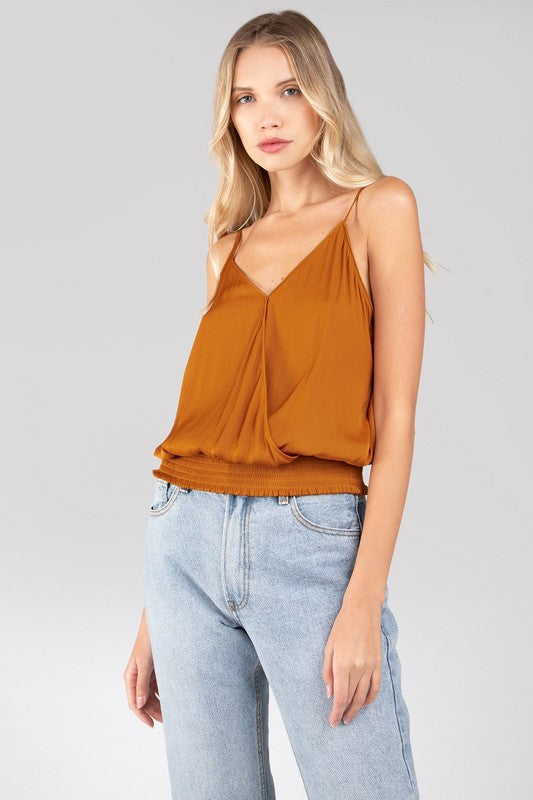SMOCKED CROP CAMI- GINGER