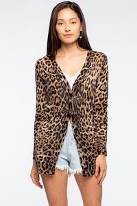 LEOPARD KNIT CARDIGAN- black