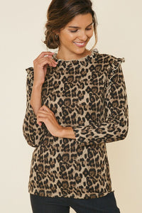 RIBBED RUFFLE MOCK NECK TOP- Leopard