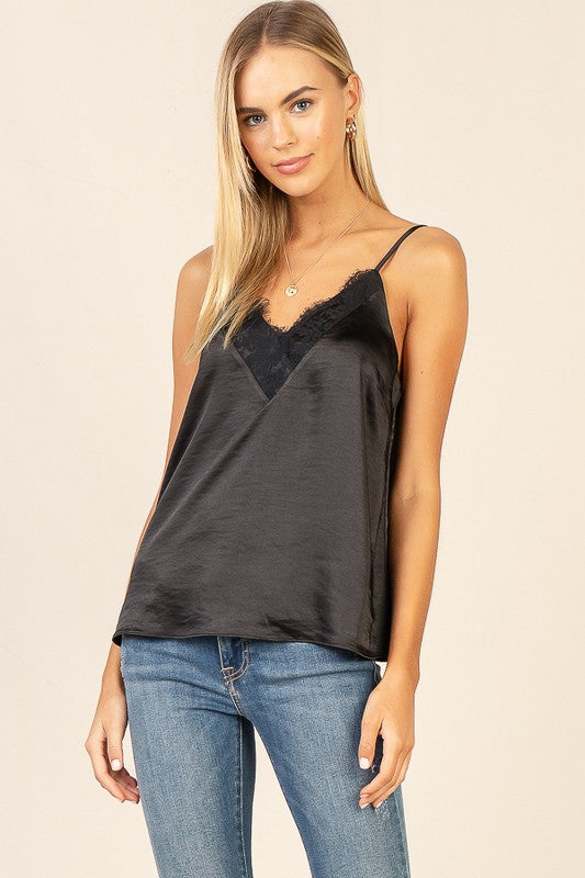 LACE DETAIL CAMI- BLACK