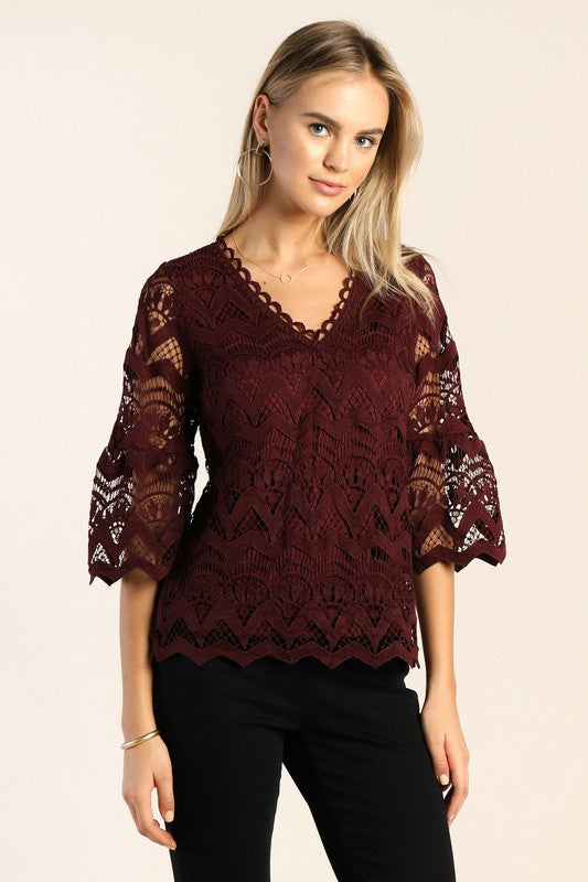 LACED BELL SLEEVE BLOUSE- WINE