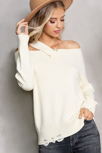 LAMIEL-CUT OUT OFF SH.SWEATER-IVORY