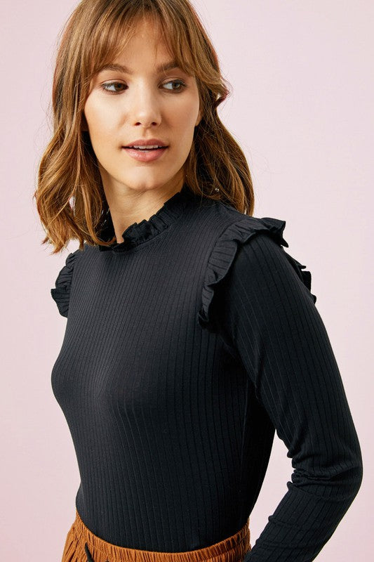 RIBBED RUFFLE MOCK NECK TOP- Black