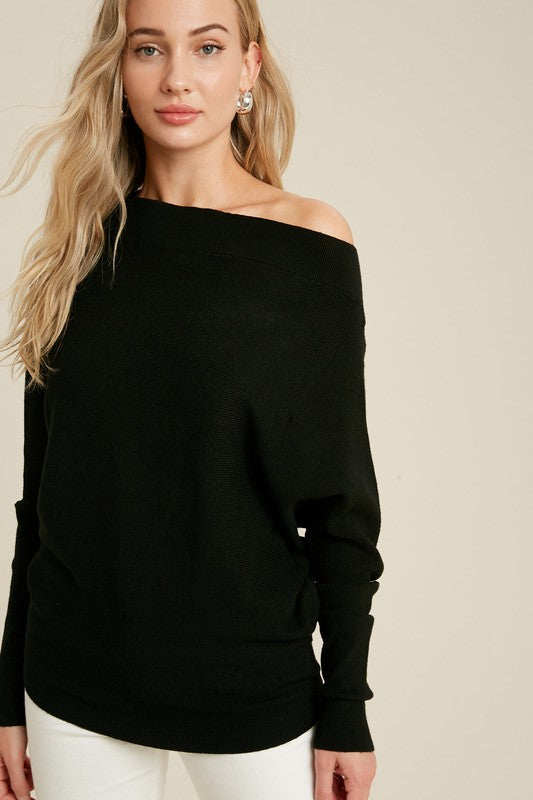 OFF SHOULDER DOLMAN SWEATER- BLACK