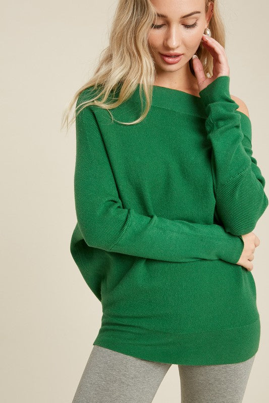 OFF SHOULDER DOLMAN SWEATER- GREEN