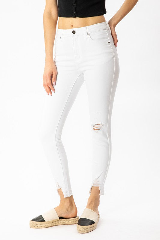 BREN HIGHWAISTED DISTRESSED DENIM- WHITE