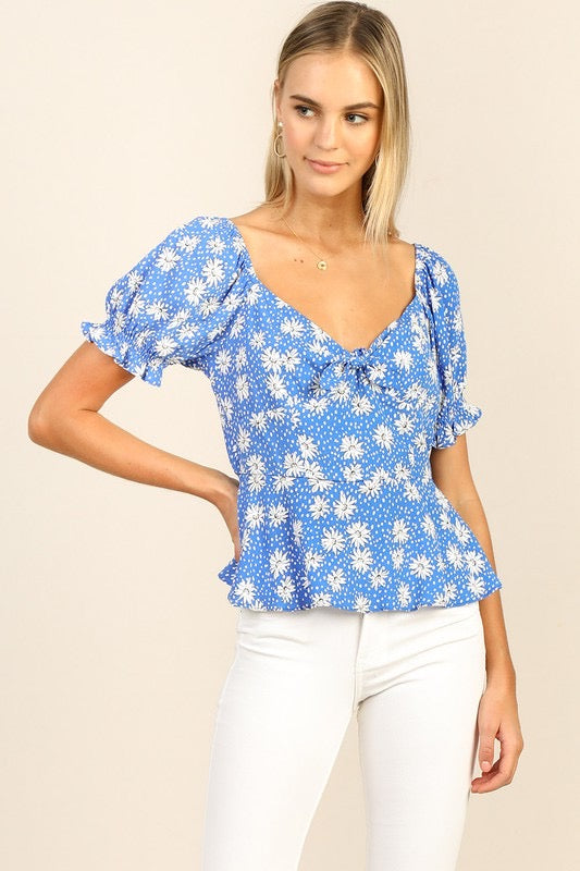 AZURE PUFF SLV TOP- BLUE