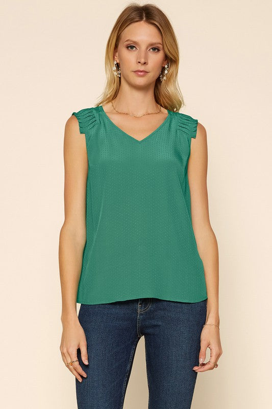 PLEATED SHOULDER TOP- GREEN