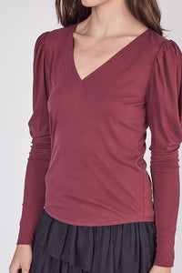 LIBBY PUFF SLEEVE TOP- WINE