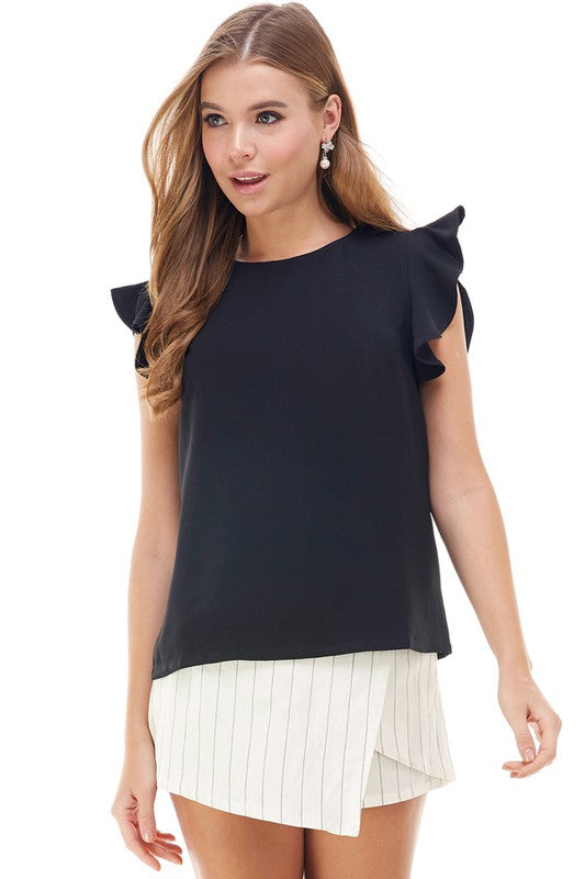 FLUTTER SLEEVE BLOUSE- BLACK