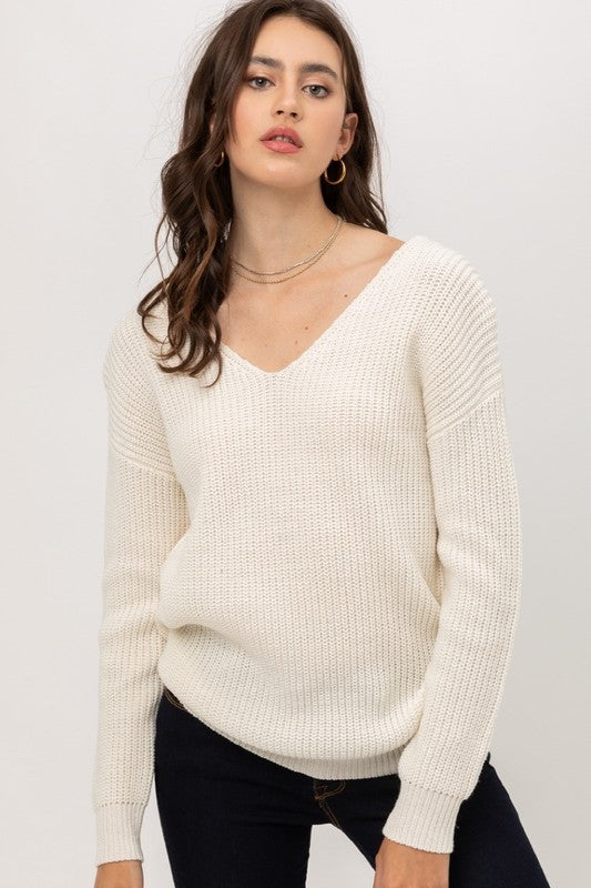 TWIST BACK SWEATER- IVORY
