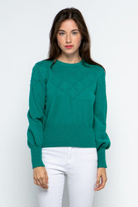 POM POM SWEATER- HOLLY GREEN