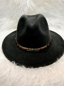 BRASS BRIMMED HAT- BLACK