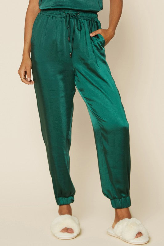 SATIN JOGGERS- HUNTER GREEN