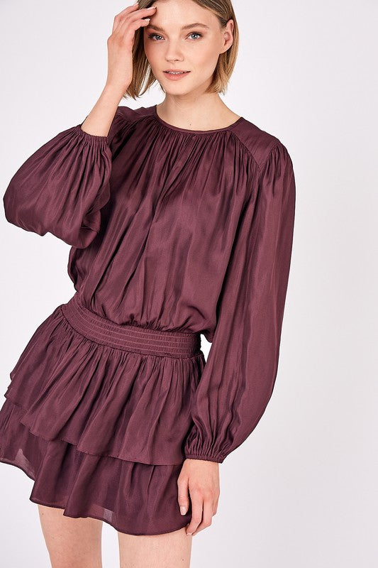 TIER KINDA GIRL DRESS- MERLOT