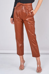 SLOAN FAUX LEATHER PANT- BROWN