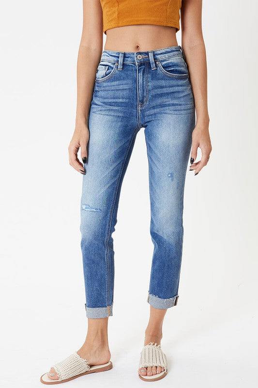 ZOE CUFFED SLIM STRAIGHT DENIM