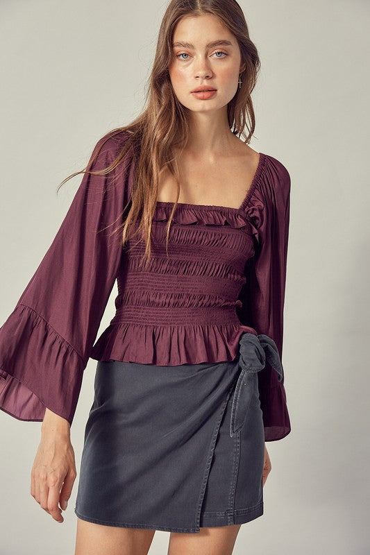 BLAKELY SMOCKED BLOUSE- MERLOT