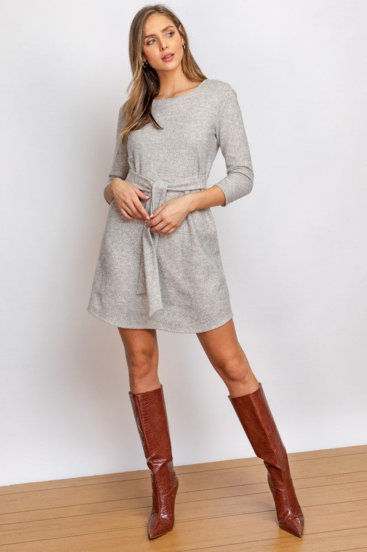 CIDER KNIT SASH DRESS- OATMEAL