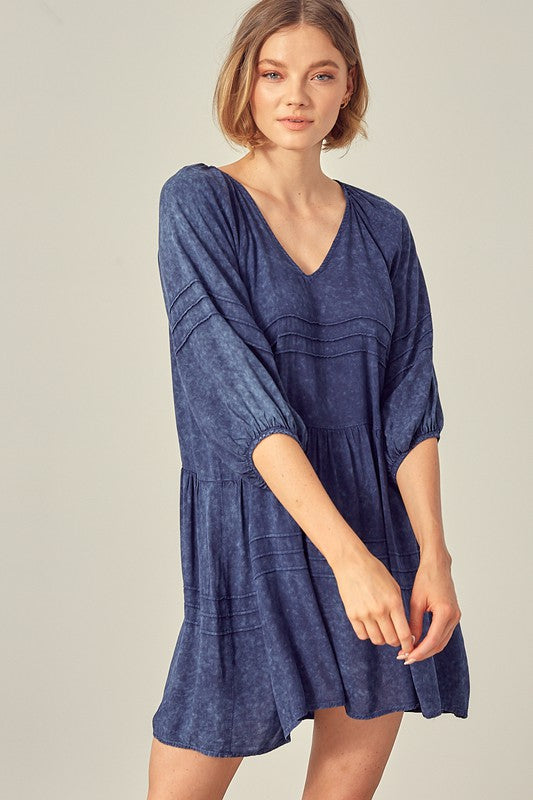 RAINEY BABYDOLL DRESS- WASHED DENIM