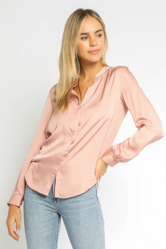 RACHEL SATIN BLOUSE- BLUSH