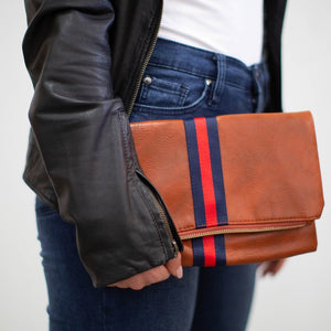 CANVAS RIBBON CLUTCH- NAVY/RED