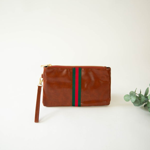 CANVAS RIBBON WRISTLET- GREEN/RED