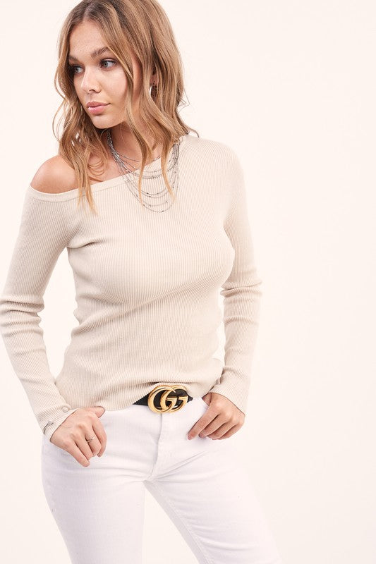 SIMPLY CHIC RIBBED SWEATER- SAND