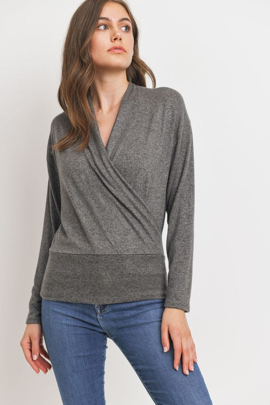 KOKO SURPLICE KNIT TOP- CHARCOAL
