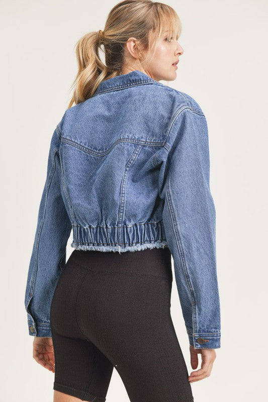 GATHERED HEM DENIM JACKET- MEDIUM WASH