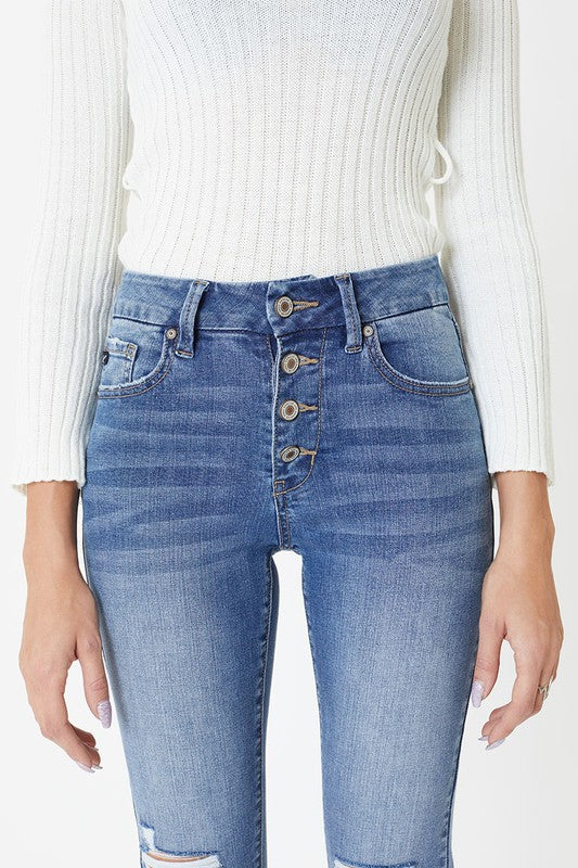 AMY MID RISE BUTTON FRONT DENIM- MEDIUM WASH