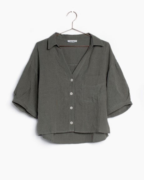 DAWN LINEN TOP- OLIVE