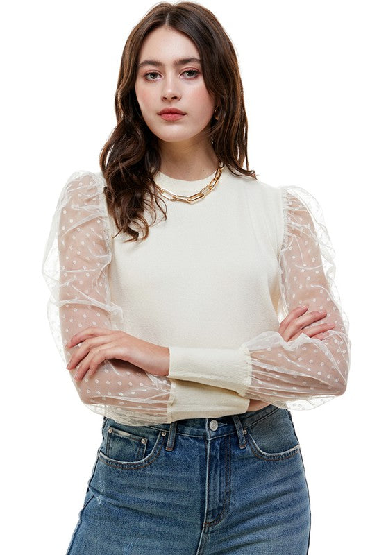 MINI DOT MESH KNIT SWEATER- IVORY