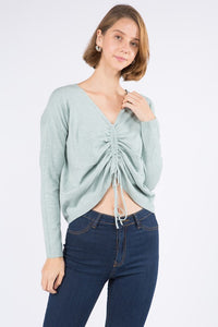 NELLY CROP SWEATER- HEATHER MINT