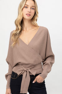 ERIN WRAP KNIT SWEATER- TAUPE
