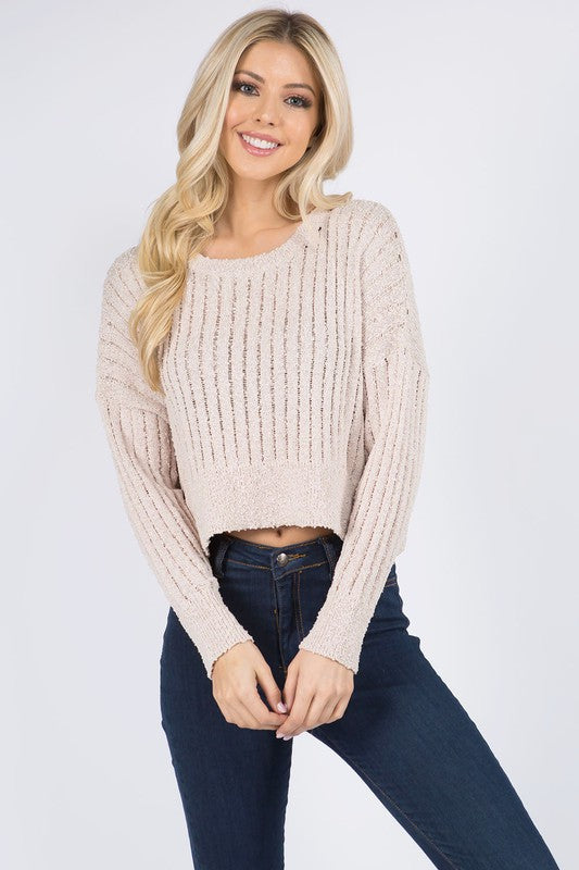 RIBBED CROP SWEATER- OATMEAL