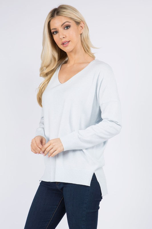 DREAMERS CENTER RIBBED SWEATER- BABY BLUE