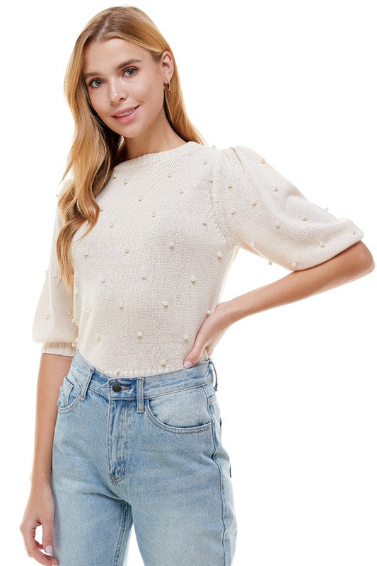 PEARL EMBELLISHED SWEATER- CREAM