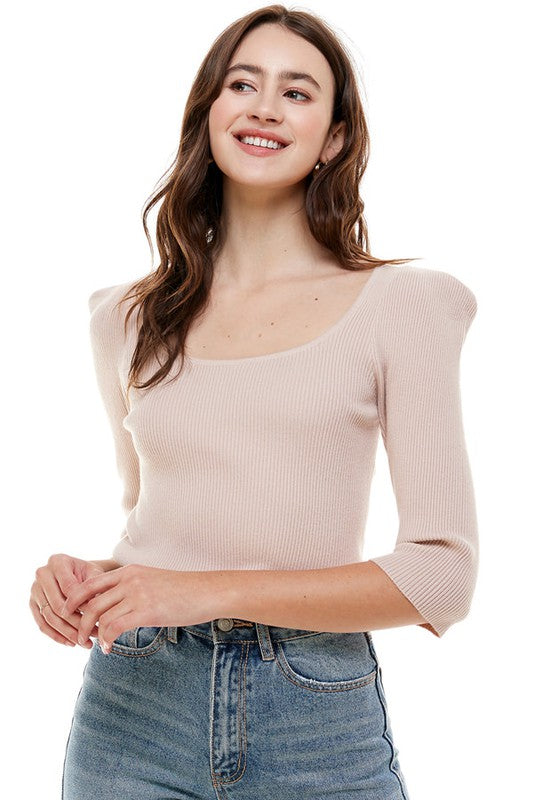 SWEETHEART RIBBED SWEATER- MAUVE