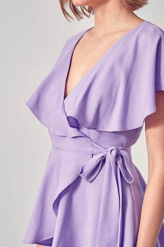 MARGOT WRAP ROMPER- LAVENDER