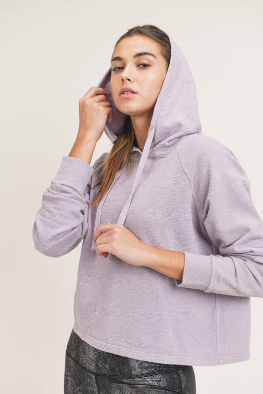 MINERAL WASHED JACQUARD HOODIE- LILAC