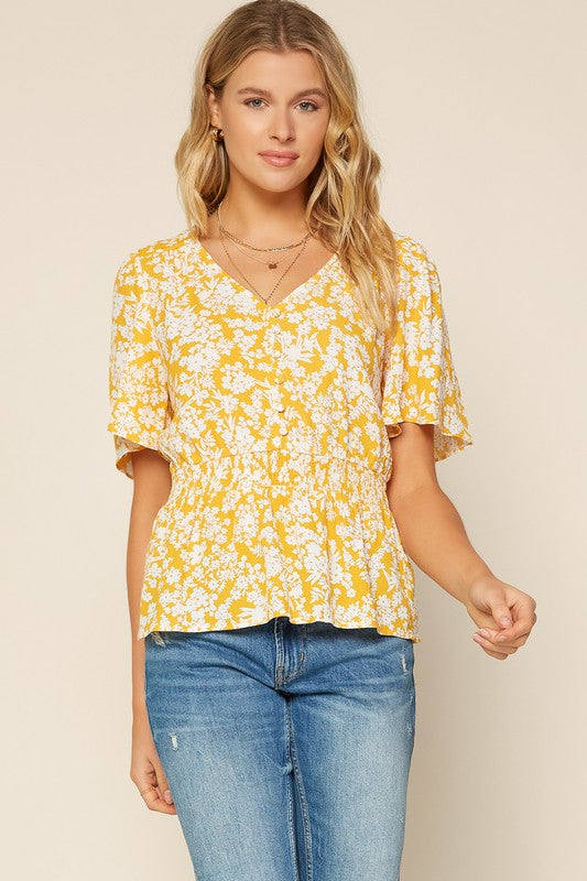 TUSCAN FLORAL SMOCKED TOP