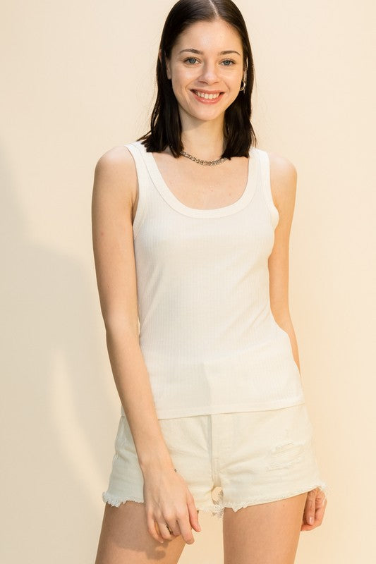 ALLIE RIBBED TANK- IVORY